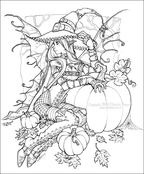 Halloween Fairy Witch Coloring Pages Sketch Coloring Page