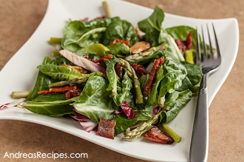 Baby Chard Salad with Asparagus, Sun-Dried Tomatoes, and Hot Bacon Vinaigrette from Andrea Meyers: Fun Recipe, Baby Chard, Hot Bacon, Bacon Dresses, Fresh Baby, Bacon Vinaigrette, Sundried Tomatoes, Sun Dry Tomatoes, Chard Salad