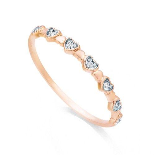 Anel em Ouro Rosê 18k Corações com 7 Diamantes an32803 KT - Joiasgold