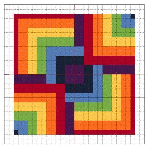 Graphgan - Cross Stitch Rainbow Block 8 - The Crafty Mummy