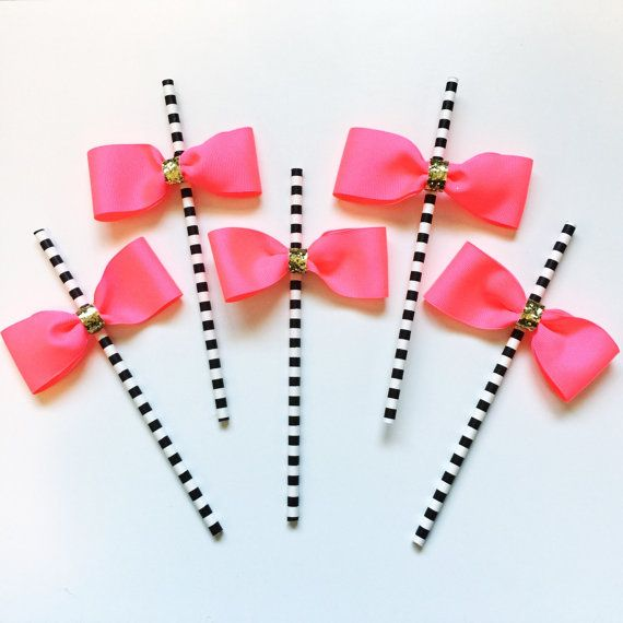 Bow Party Straws. bachelorette party. bridal shower Engagement party. black white stripes. Baby Shower. Bride. Wedding. Kate Spade Inspired