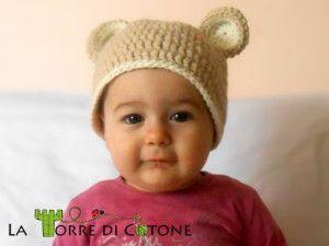 Pattern: cappello da orsetto all'uncinetto, schema gratis per cappellino all'uncinetto a forma di orsetto, cuffietta neonato
