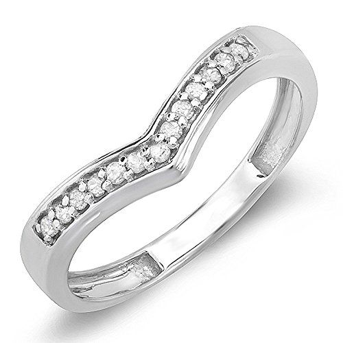 0.15 Carat (ctw) Sterling Silver Round Real Diamond Wedding Stackable Band Anniversary Guard Chevron Ring >>> ADDITIONAL DETAILS @ http://splendidjewelry4u.com/0-15-carat-ctw-sterling-silver-round-real-diamond-wedding-stackable-band-anniversary-guard-chevron-ring/?a=5437