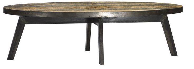 55 large oval coffee table reclaimed wood iron handmade