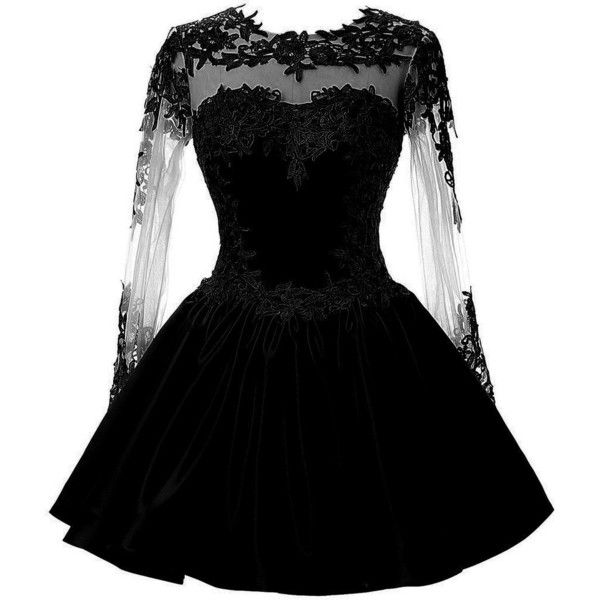 CuteShe Women's Short Lace Homecoming Prom Dresses with Long Sleeves ($79) ❤ liked on Polyvore featuring dresses