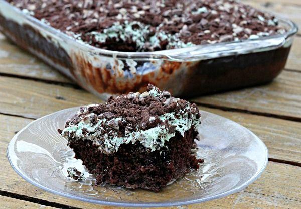Grasshopper Poke Cake