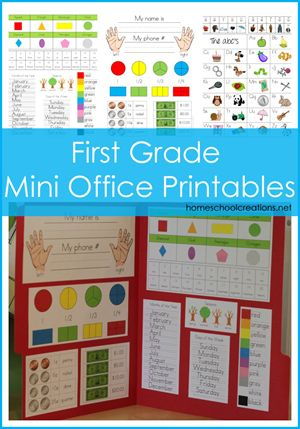 First Grade Mini Office: {free}--The First Grade Mini Office includes the following concepts: name printing, phone number, left/right hands, circle and rectangle fractions, coin and paper money values, 8 shapes and name, the numbers 1-20 and number words, months of the year, days of the week, seasons, colors, short/long vowel sounds, and the alphabet with beginning sound picture prompts.
