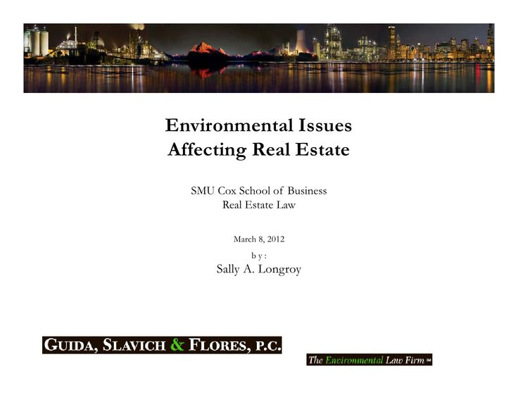 Environmental Issues Affecting Real Estate   Smu Cox Real Estate Law Class by slongroy via slideshare