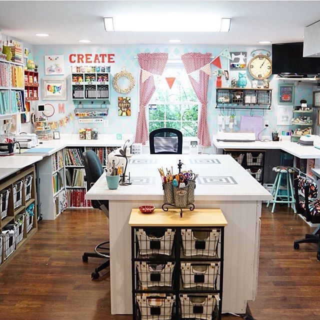 I Cleaned My Room Last Night Before I Turned It And I M So Glad That I Did It Looked Like A Bomb Had Gon Sewing Room Design Craft Room Decor Craft Sewingcraft room before and during