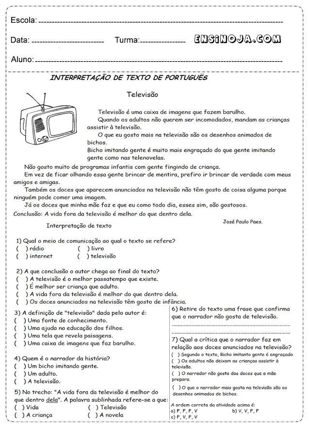 Atividades de interpretação de texto para o 2° ano, 3° ano, 4° ano e 5° ano do ensino fundamental, separada por categorias para facilitar a compreensão dos exercícios para cada ano escolar. Trouxemos as melhores atividades de interpretação de texto que existe contendo imagens ilustrativas, texto e perguntas para cada tipo de série escolar. Dicas …