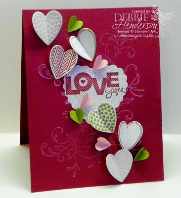 Stampin' Up! Supplies:    Cardstock: Raspberry Ripple, Lucky Limeade, Pretty In Pink, Whisper White   Inks: Raspberry Ripple, Lucky Limeade, Pretty In Pink, Whisper White Craft   Stamps: Hearts A Flutter, Creative Elements, Seasonal Sayings   Tools: Big Shot Machine, Hearts A Flutter Framelits, Small Heart Punch