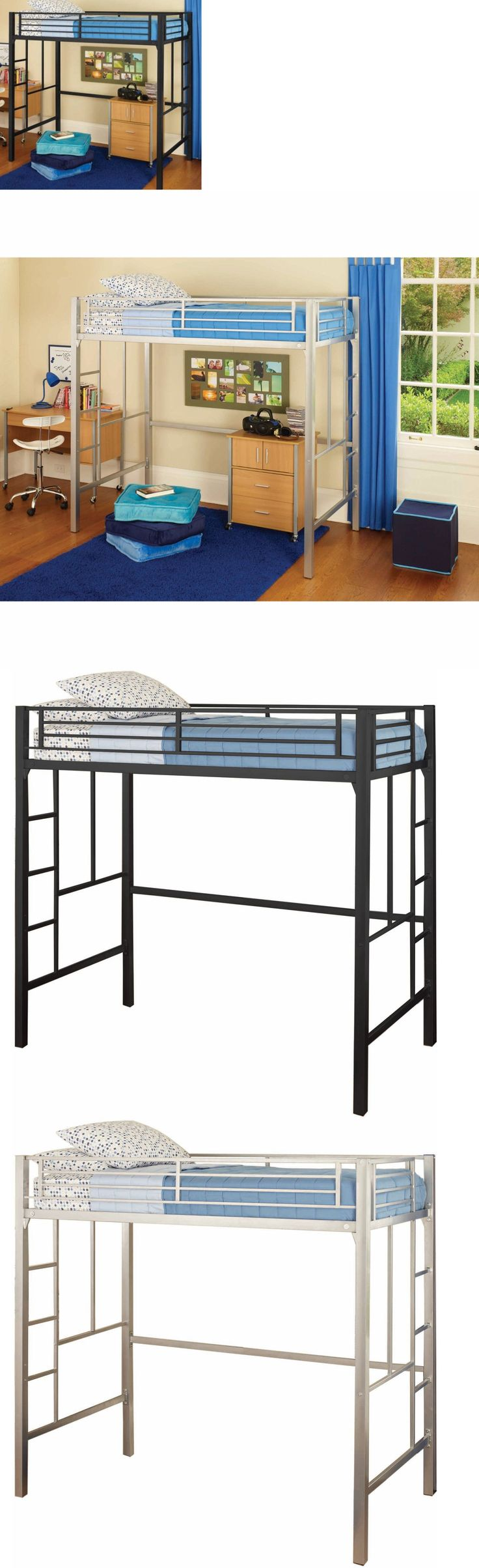 University loft graduate series twin xl open loft bed natural finish - Kids Furniture Twin Metal Loft Bed Two Ladders Kids Bedroom Furniture Bunk Frame Safe Dorm
