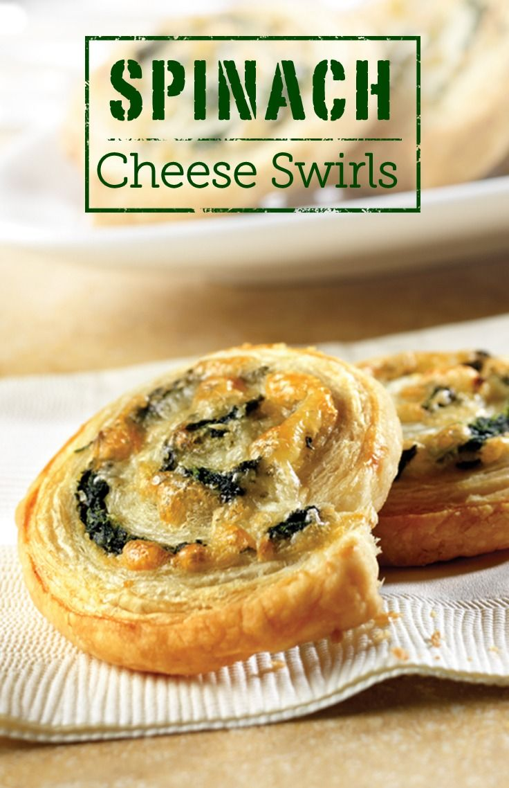 Spinach Cheese Swirls – These tempting appetizers look impressive, but they're actually easy to make—featuring a spinach, onion and cheese filling, rolled up in flaky puff pastry and sliced into pinwheels.