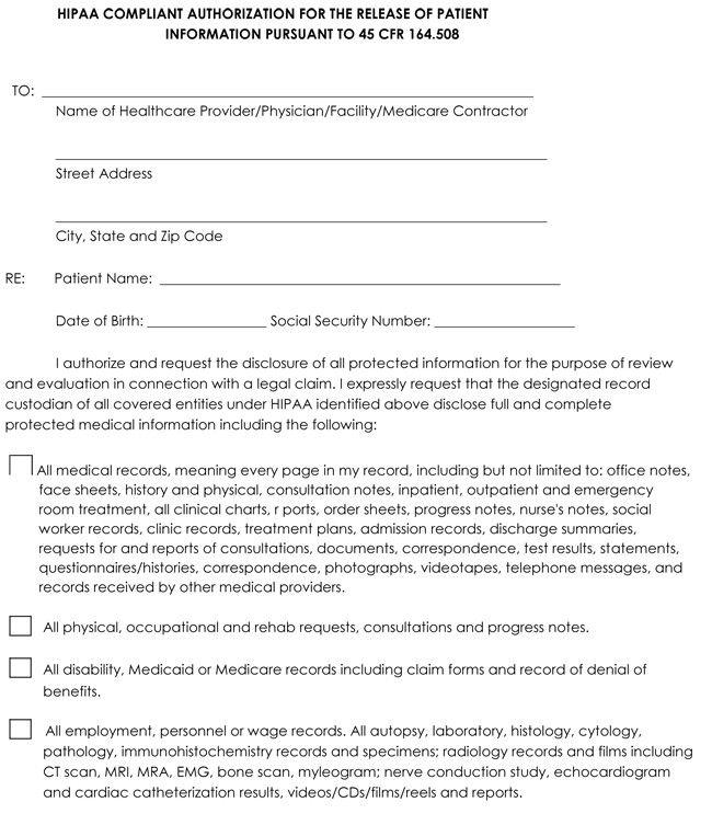 Patient Health Information Request Form Medical Forms Medical Information Templates Medical