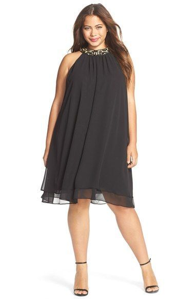 4dc20c10d vestido-trapezio-plus-size-preto-de-festa | vestido MANUELA em 2019 ...