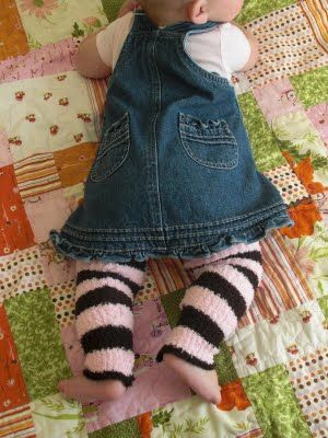 Dollar Store Scarf to Baby Legs or arm warmers. Great idea -