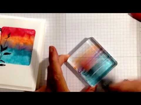cardmaking technique video: Just a Minute Stamping Technique: watercolor background with acrylic block ... Stampin'Up! ... YouTube