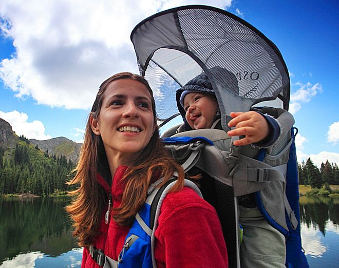 Probably the highest quality child carrier backpack money can buy, Osprey Poco - found at Adventure Parents