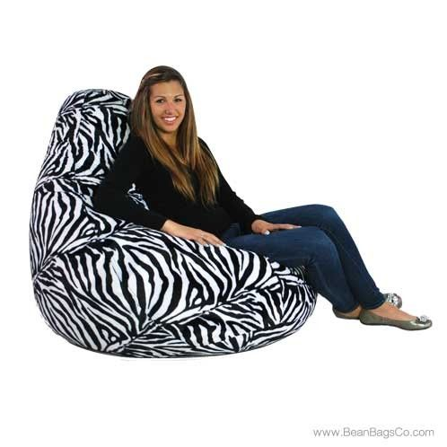 Fun Factory Soft Velvet Zebra Print Extra Large Pure Bead Bean Bag Chair | On SALE: $129.99 + FREE Shipping, Fast Delivery, No Sales Tax!