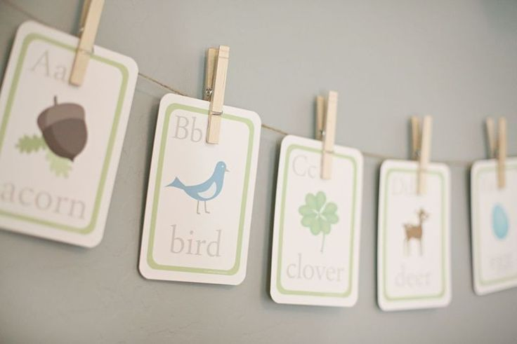 Hanging letter word cards for baby room - cute inexpensive decor idea