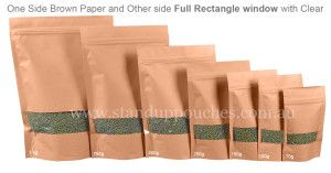 Stand up pouches are available in various sizes ranging from 1g – 5 kg.