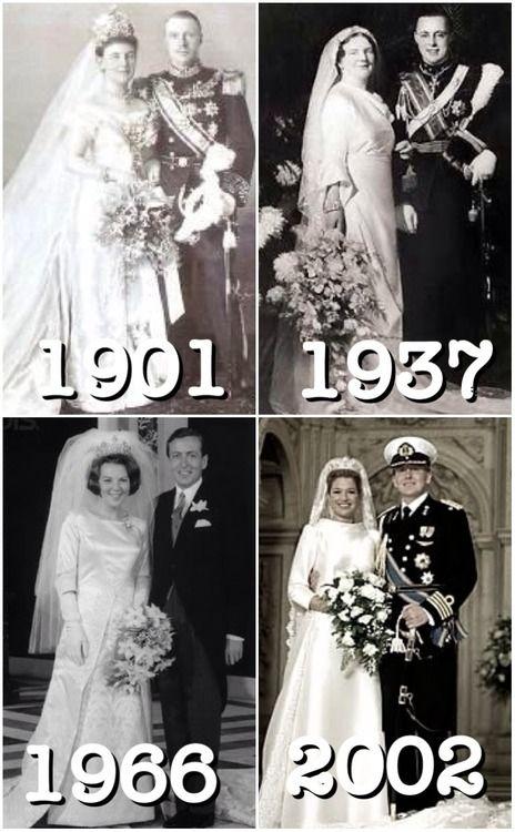 royalmontages: Dutch Royal Weddings-Queen Wilhelmina and Duke Henry of Mecklenburg-Schwerin, 1901; Crown Princess Juliana and Prince Bernhard of Lippe-Biesterfeld, 1937; Crown Princess Beatrix and Claus von Amsberg, 1966; Crown Prince Willem-Alexander and Máxima Zorreguieta Cerruti, 2002.