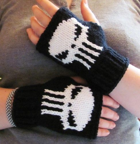 Punisher fingerless gloves knit skull Super Hero fan art made to order