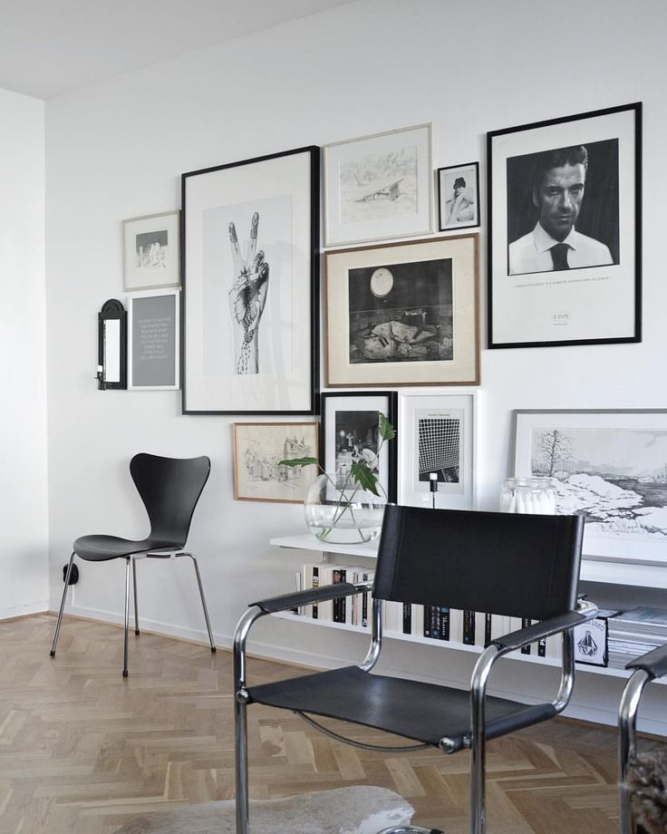 Art Wall And Beautiful Masculine Black Chairs