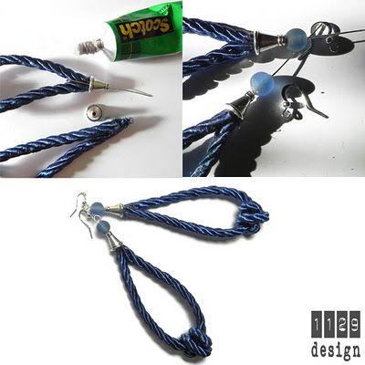 orecchini e gioielli 1129design - ispirazioni e divagazioni: Tutorial orecchini e collane di corda: spirali e nodi