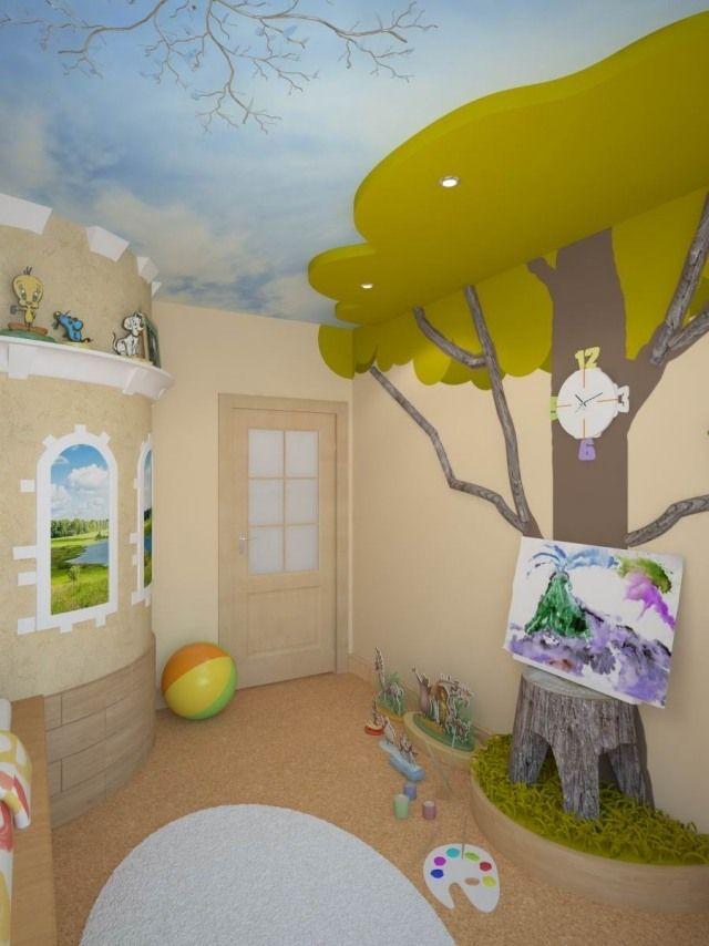 kinderzimmergestaltung farbe wandmalerei baum decke himmel