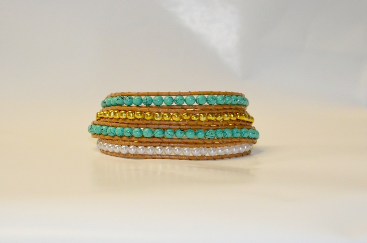 Turquoise, gold and pearl alternating multi-wrap bracelet