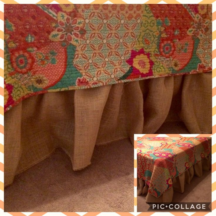 Custom  made Burlap Bed Skirt by Julie Hill
