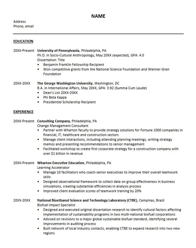 Resume For Ph D  Opinion Of Professionals  Gamberger Casino