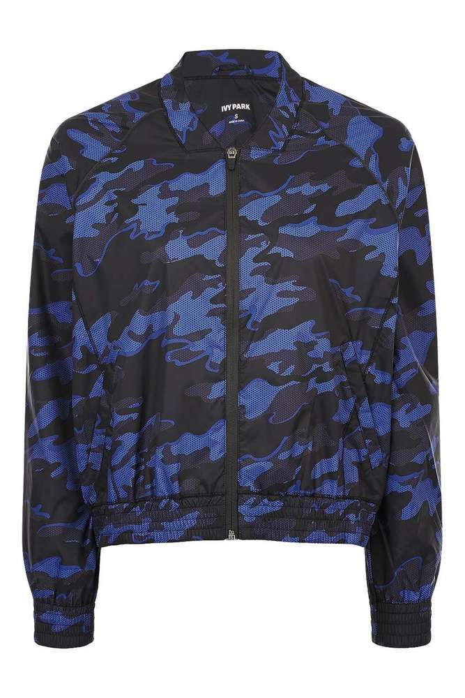 BEYONCE IVY PARK NAVY BLUE CAMO WOMENS LADIES BOMBER JACKET SIZE 10 (SMALL) BNWT