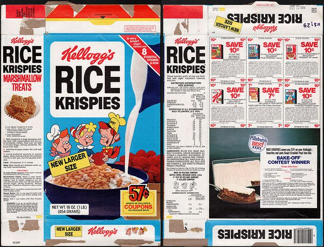 kelloggs cereal boxes | Kellogg's Rice Krispies cereal box - coupons - 1979 | Flickr - Photo ...