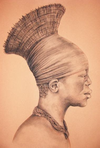 African man drawing. Charcoal pencil graphic.