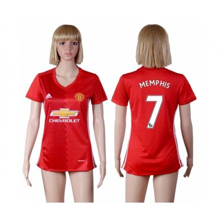 Manchester United Fotbollskläder Kvinnor 16-17 #Memphis Depay 7 Hemmatröja Kortärmad,259,28KR,shirtshopservice@gmail.com