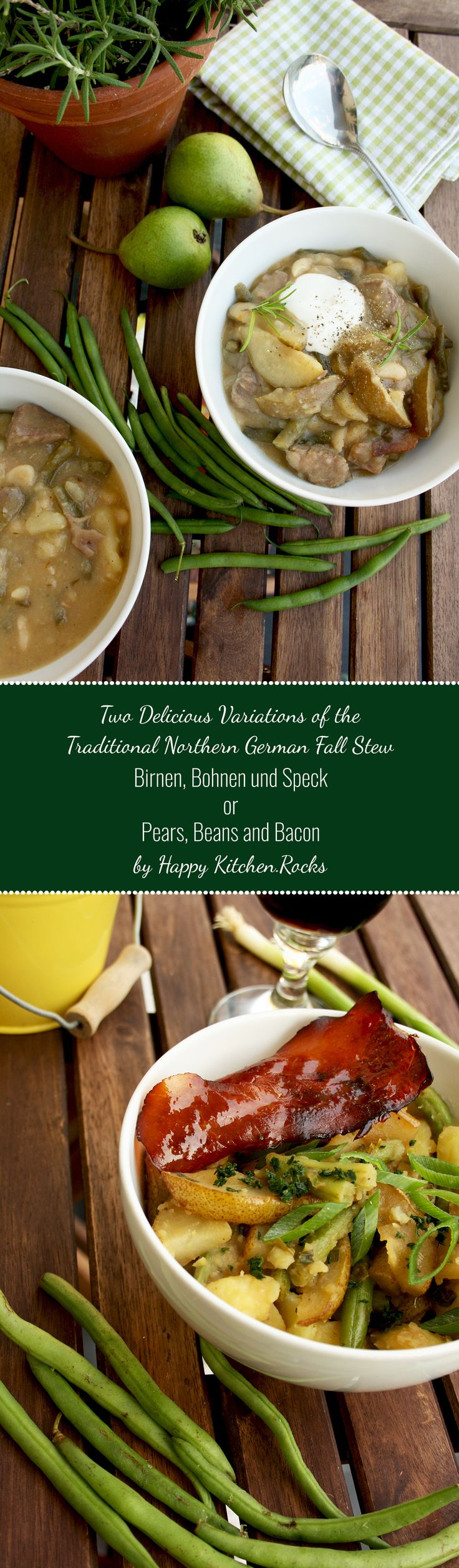 Birnen, Bohnen und Speck or Pears, Beans and Bacon - an adopted version of a perfect autumn and winter comfort meal from Northern Germany. Low-caloric, nutritious and easy to make.