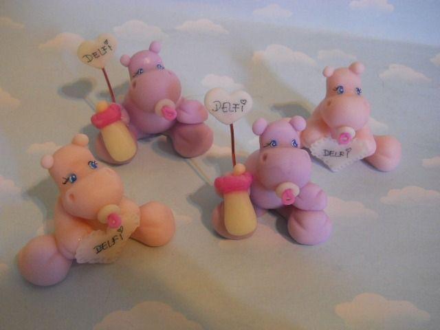 10 Souvenirs Hipopotamos.porcelana Fria. Bautismo,nacimiento - By ...