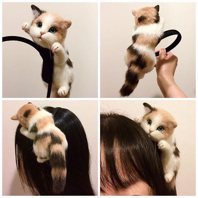 Cute Needle felting wool animal cat (Via @yukarin5211)