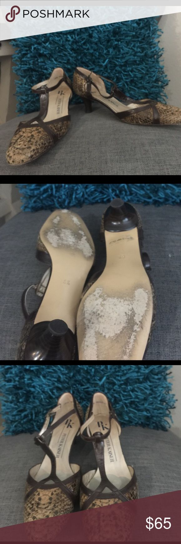 Size 8 1/2 Peter Kaiser t-strap heels. Size 8 1/2 Peter Kaiser snakeskin look t-strap heels. These are amazing shoes! Shoes Heels