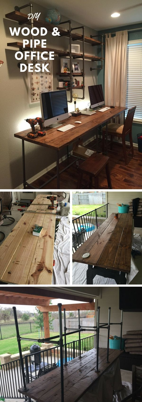 Check out the tutorial how to build a DIY pipe and wood office desk @istandarddesign