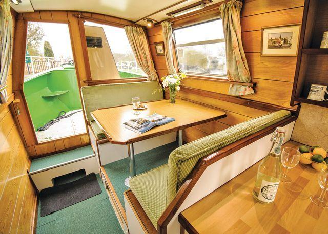 Wild Hemlock - saloon #narrowboat #canalholiday #selfdrivehire www.calcuttboats.com