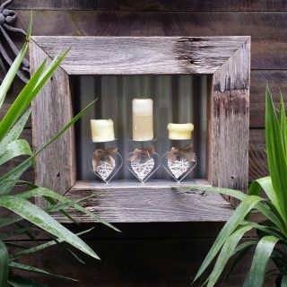 Recycled timber frame measures 60cm x 70cm x 10cm approx. and comes complete with Tri-candle holder. A quote for shipping can be supplied once your delivery postcode is supplied. Please make a note to seller that you require shipping when you go to check out.