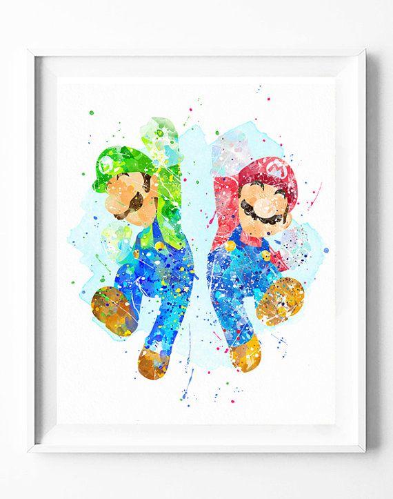 Super Mario Bros Print, Mario and Luigi, Games Print, Watercolor Art, Printable…