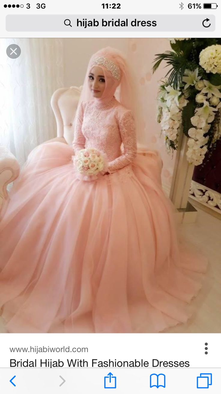 Bridal hijab with fashionable dress in peach pink