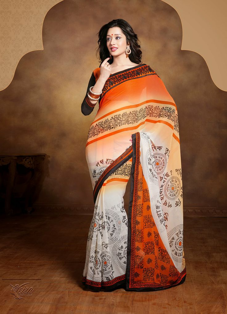 Printed floral designer sarees