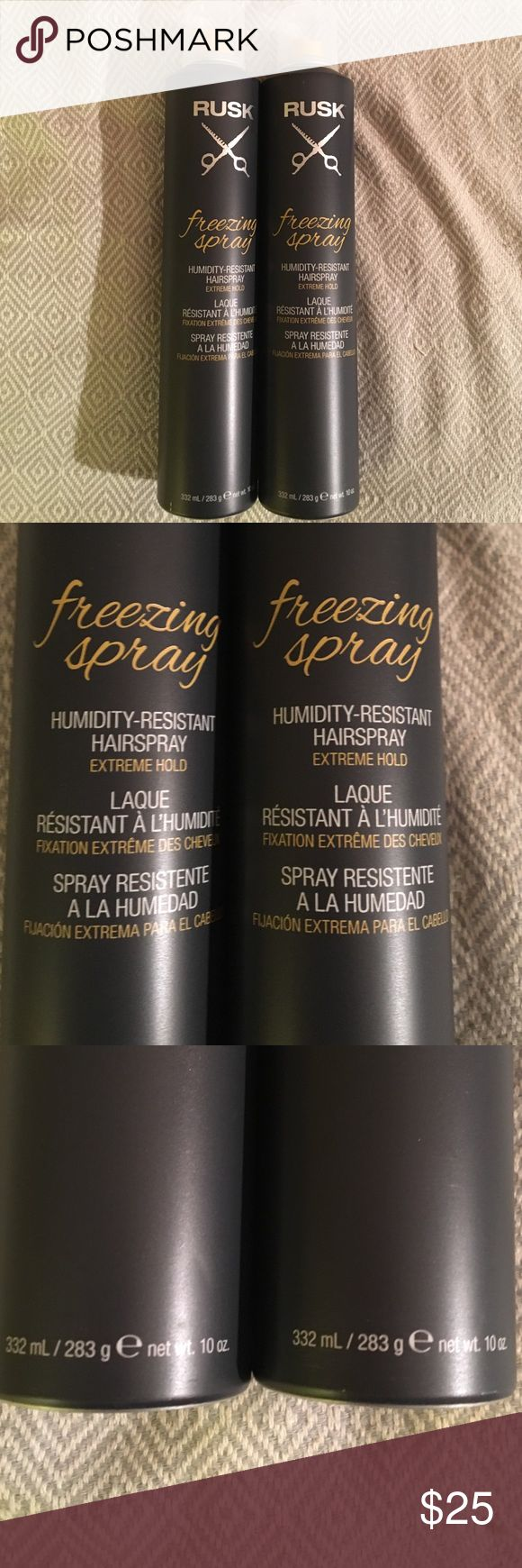 2 Rusk Freezing Spray - Humidity Resistant New!! New!!! Never Used!!!! Give styling miracles the reverence they deserve. Rusk's humidity-resistant hairspray stops time - at least for a day - to preserve any masterpiece. Looking for extreme? How 'bout gravity-defying shape and definition plus shine. Achieve perfection, then reach for Rusk Freezing Spray to keep it that way. Both are never used and new! Usually sells for for $19.00 each!!! Rusk Makeup