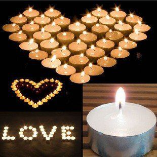 """what can you do with a Set of 120 tealights? (especially when they are on sale! save 35%) Valentines day is coming up soon… How about these ideas? Make a beautiful love heart (or two or three!) Spell out """"I love you"""" in tealight Candles Add your valentines name too … Going to propose on valentines day? Spell out """"Marry me""""  ~ for SALE ~ #wedding #candelabra #centrepiece home #decor or #gift idea ~  www.candelabracenterpieces.info"""
