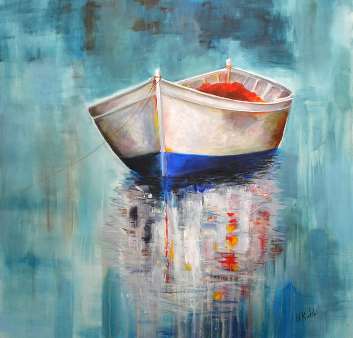 """Another beautiful day - Expressionist Boat Painting """"Another beautiful day"""" is an acrylic marine painting The size of artwork is: 90 X 90 X 3 cm  This Contemporary marine painting is made on high quality canvas, with the finest acrylic materials and it is varnished for protection against UV light and dust. The painting is shipped unframed, in"""